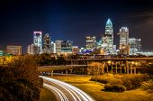 Charlotte City Skyline nachtbeeld