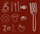 Collection Of Food And Kitchenware Icons On A Brown Background
