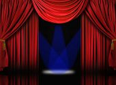 Velvet Theater Stage Drape Curtains With Blue Spotlights