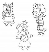 stock photo of poodle skirt  - Three funny cartoon dogs in clothes  - JPG