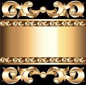 Background Frame With Vegetable Voluminous Gold(en) Ornament