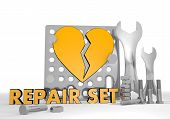 Illustration of a broken broken heart pictogram repair set