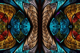 picture of scythe  - Fractal pattern in stained glass style - JPG