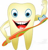 Happy Healthy Tooth With Toothbrush