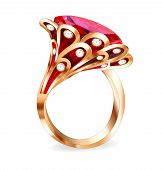 Of A Piece Of Jewelry With A Red Ruby Ring