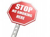 Stop no smoking here road sign
