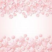 Pink Background With  Valentine Hearts And Flowers,  Vector