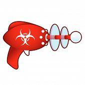 Biohazard warning on retro raygun