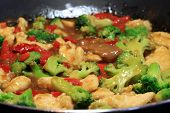 Stir fry with beef, chicken and vegetables