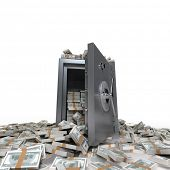 3D rendering of a safe full of hundred dollar notes