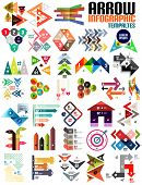 Set of geometric shape arrow info templates for templates, technology, presentation, banner, layout  stripes, ribbons, lines. For banners, business backgrounds, presenations