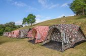 Row Of Tents On Hill