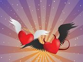 Good And Evil Hearts Background