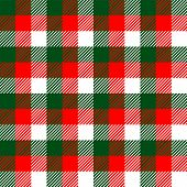 Checkered gingham fabric seamless pattern in green white and red, vector
