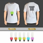 Set Of Colorful Realistic Bulbs Printed On Shirt. Vector Design