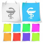 Pharma symbol. Raster note papers.