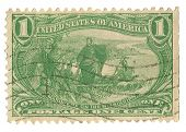 United States Stamp showing Marquette on the Mississippi