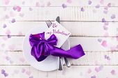 picture of home is where your heart is  - Valentines table setting on white wooden background - JPG
