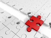 stock photo of faq  - A piece of red puzzle with a bridge joining two large groups of puzzle - JPG