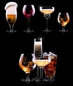 stock photo of mug shot  - set with different drinks on black background  - JPG
