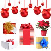 Group of Christmas objects isolated on white