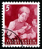 Postage Stamp Liechtenstein 1951 Boy Cutting Bread