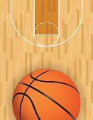 stock photo of basketball  - A realistic vector hardwood textured basketball court with basketball at the bottom - JPG