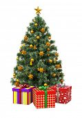 Christmas tree with decorations isolation on white background