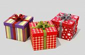 Gifts with ribbons on a gray background
