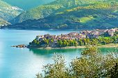image of apennines  - Medieval City on the Lake in the Apennines - JPG