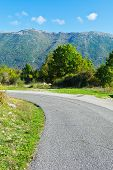 stock photo of apennines  - Winding Paved Road in the Italian Apennines - JPG