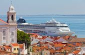 big tourist ship to stand in the port of Lisbon Portugal