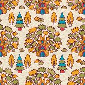 Seamless pattern with oaks