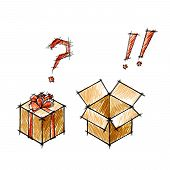 Set Of Doodle Sketches Of Gifts And Postboxes? Emotion Concept. Eps10