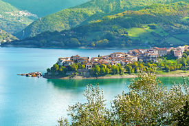 foto of apennines  - Medieval City on the Lake in the Apennines - JPG