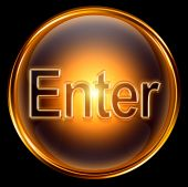 Enter Icon Gold, Isolated On Black Background.