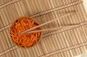 Korean Carrot Salad And Chopsticks