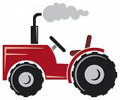 picture of cultivator-harrow  - red tractor vector illustration - JPG