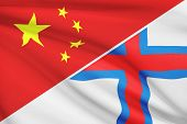 Series Of Ruffled Flags. China And Faroe Islands.