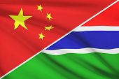 Series Of Ruffled Flags. China And Republic Of The Gambia.