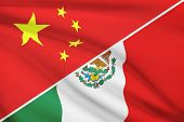 Series Of Ruffled Flags. China And United Mexican States.