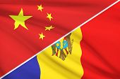 Series Of Ruffled Flags. China And Republic Of Moldova.