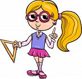 Grade School Girl Cartoon Illustration