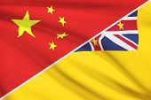 Series Of Ruffled Flags. China And Niue.