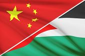 Series Of Ruffled Flags. China And State Of Palestine.