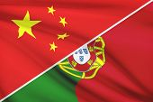 Series Of Ruffled Flags. China And Portuguese Republic.