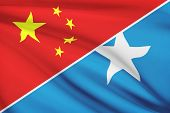 Series Of Ruffled Flags. China And Federal Republic Of Somalia.