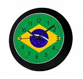 Black Clock With Flag Of Brazil On Wall