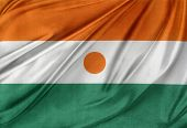 Closeup of silky Niger flag