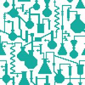 Seamless retro pixel game science lab pattern